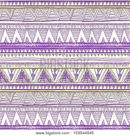 Seamless Tribal Ikat Watercolor Purple Pattern On A Grey Background. Vector Ethnic Seamless Purple V