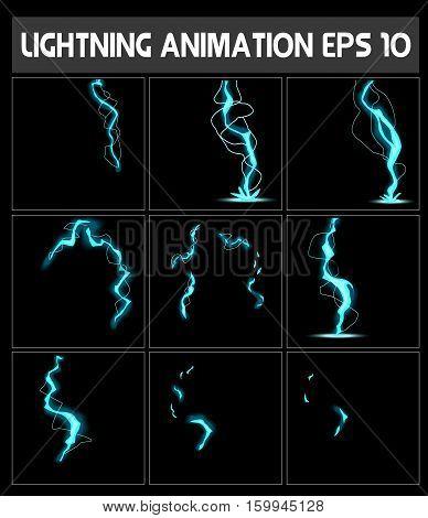 WebLightning animation. Game animation of lightning. Game animation. Sprite sheet for game or cartoon