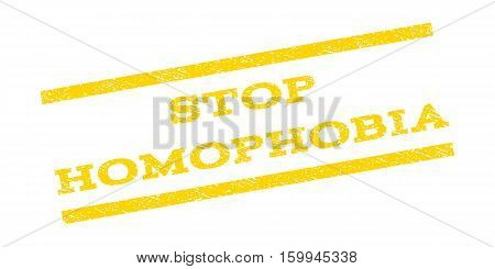 Stop Homophobia watermark stamp. Text tag between parallel lines with grunge design style. Rubber seal stamp with unclean texture. Vector yellow color ink imprint on a white background.