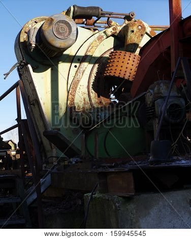 timber industry machine old discarded wood processing line