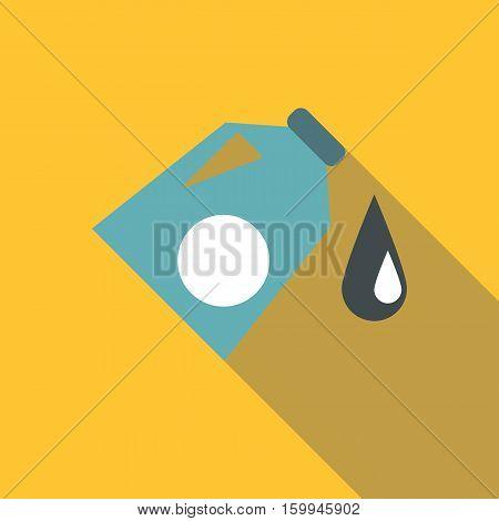 Plastic jar with fuel icon. Flat illustration of plastic jar with fuel vector icon for web