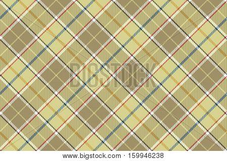 Beige check seamless diagonal fabric texture. Vector illustration.