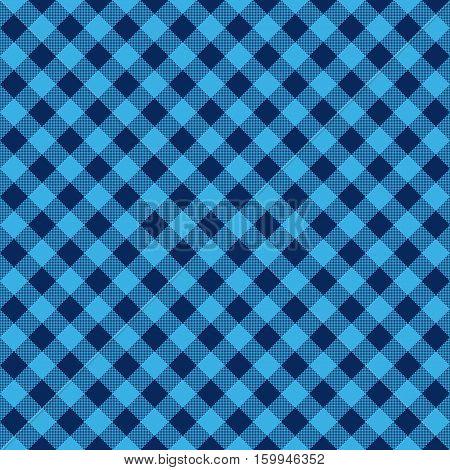Blue check diagonal fabric texture seamless pattern. Vector illustration.