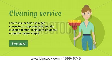 Cleaning service. Female member of the cleaning service staff with broom and duster. Worker of cleaning company. Successful housekeeping company banner. Office and hotel cleaning. Vector illustration