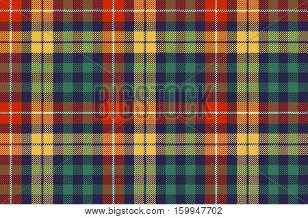 Colors check plaid fabric seamless background. Vector illustration.