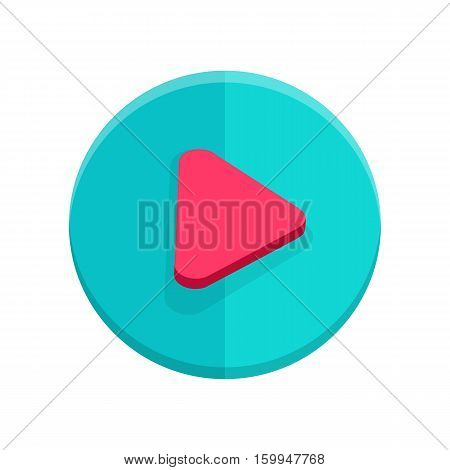 Play sign isolated on white. Flat style icon design. Symbol of video player for web and mobile apps. Play button web icon. Glossy media. Interface element. Pause or start. Click or direction. Vector