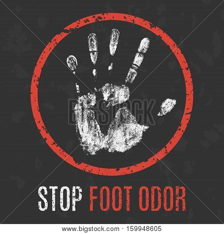 Conceptual vector illustration. Human diseases. Stop foot odor.