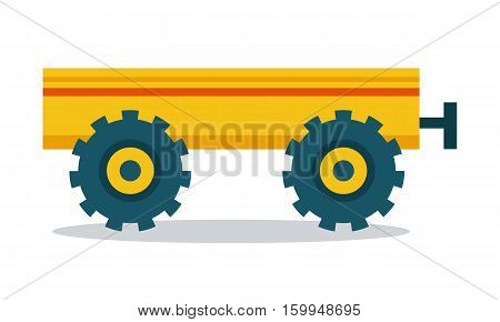 Trailer vector. Flat style design. Farm machinery and instruments concept. Illustration for farming and agricultural theme illustrating, app icons, ad, infographics. Isolated on white.