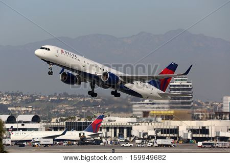 Delta Air Lines Boeing 757-200 Airplane Los Angeles International Airport