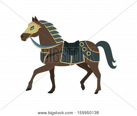 Knight s war horse in flat. Illustration of brown war horse. War horse icon. Knight s armored horse. Game object in flat design isolated on white background. Vector illustration