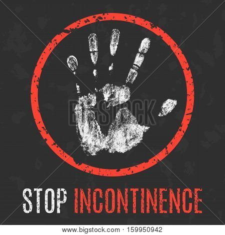 Conceptual vector illustration. Human diseases. Stop incontinence.