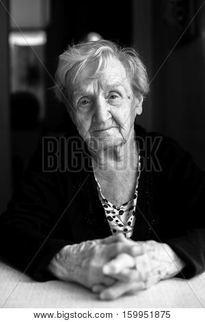 Grandma. Black and white portrait of an elderly woman.