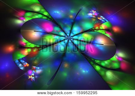 Abstract Glowing Flower On Black Background. Fantasy Fractal Artwork In Neon Blue, Pink, Red And Gre