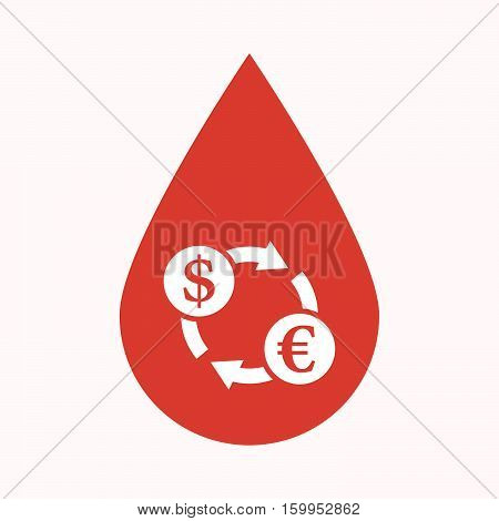 Isolated Blood Drop With A Dollar Euro Exchange Sign