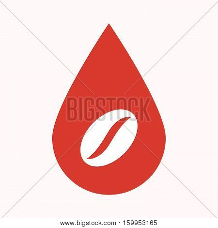 Isolated Blood Drop With A Coffee Bean