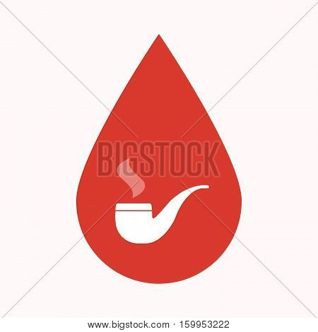 Isolated Blood Drop With A Smoking Pipe