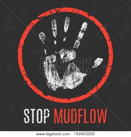 Conceptual vector illustration. Natural disasters. Stop mudflow.