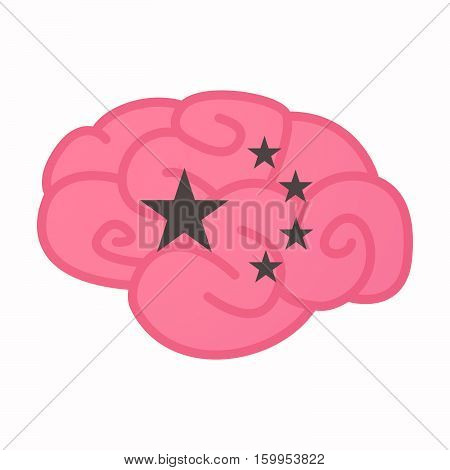 Isolated Brain With  The Five Stars China Flag Symbol