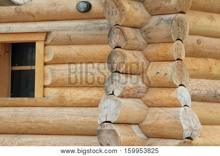Log cabin home / Wall of house from logs