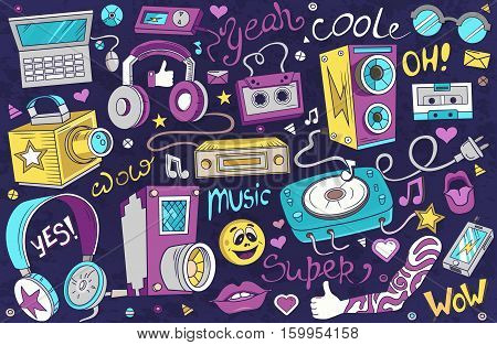 Abstract vector illustration of music. Design element for your product. Festival background. Musical instruments. Sound