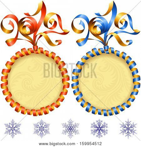 Vector New Year 2017 circle frame set isolated on white background. Red and blue streamer