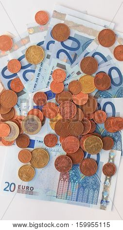 Euros Coins And Notes
