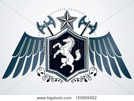 Luxury Heraldic Vector Emblem Template Made Using Hatchets And Horse Illustration