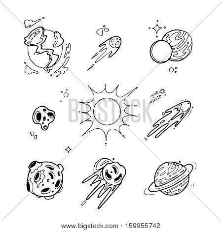 Hand drawn planets of solar system with sun and space asteroids, comets, stars. vector illustration in doodle style. Space science design