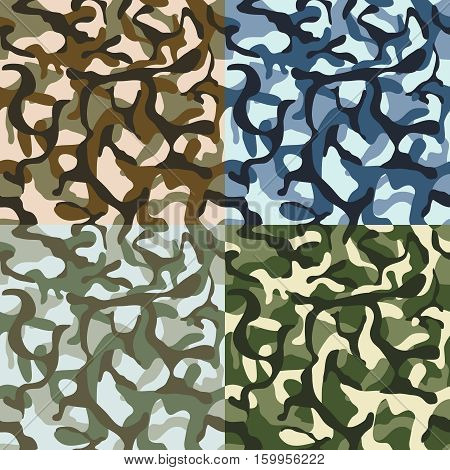 Army camouflage, hunter, combat camo vector seamless patterns set. Camouflage material collection, clothing pattern camouflage illustration,