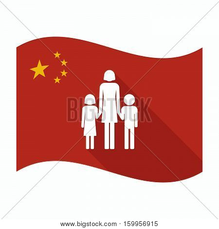 Isolated China Flag With A Female Single Parent Family Pictogram