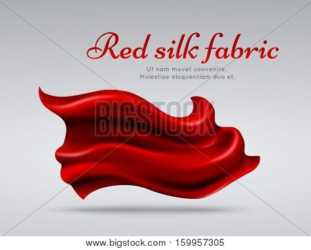 Red flying silk fabric abstact vector background. Silk material element isolated, textile ribbon silk illustration