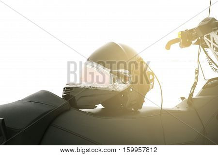 Conceptual image. Snowmobile. The concept of vacation during the winter holidays