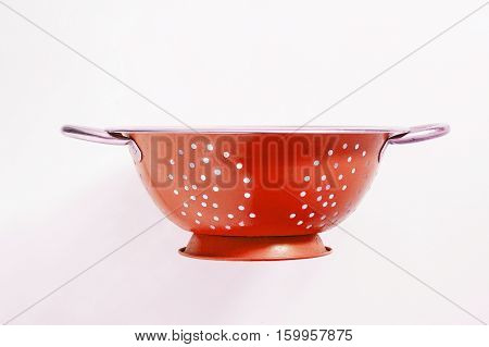 Old Metal Colander Sieve Isolated On White Background