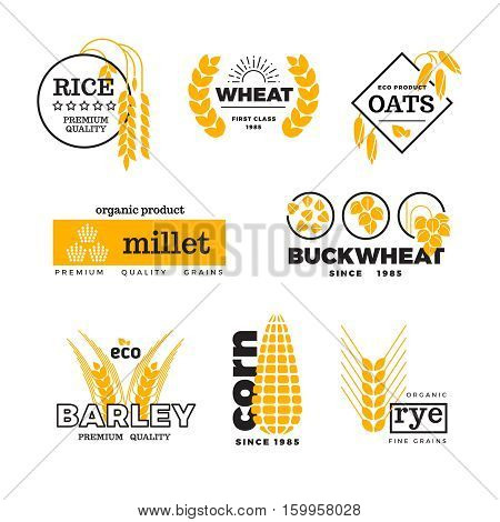 Organic wheat grain farming agriculture vector logo set. Logo with grain, emblem farming natural golden grains illustration