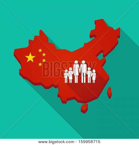 Long Shadow China Map With A Large Family  Pictogram