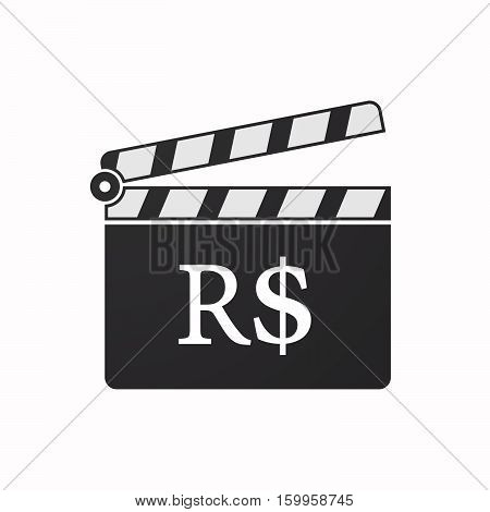 Isolated Clapper Board With A Brazillian Real Currency Sign