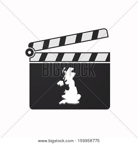 Isolated Clapper Board With  A Map Of The Uk