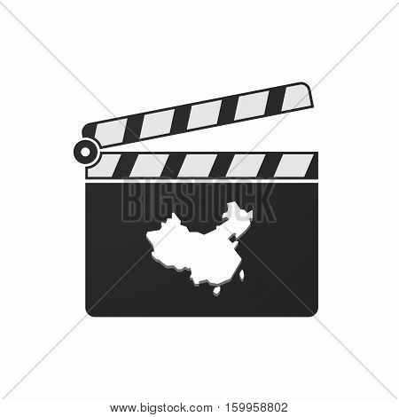 Isolated Clapper Board With  A Map Of China