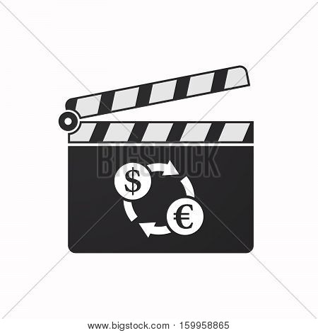 Isolated Clapper Board With A Dollar Euro Exchange Sign