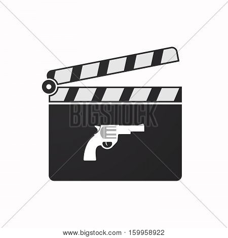 Isolated Clapper Board With A Gun