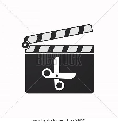 Isolated Clapper Board With A Scissors