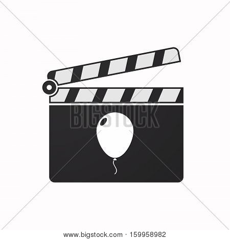 Isolated Clapper Board With A Balloon