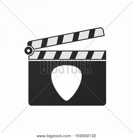 Isolated Clapper Board With A Plectrum