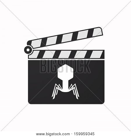 Isolated Clapper Board With A Virus