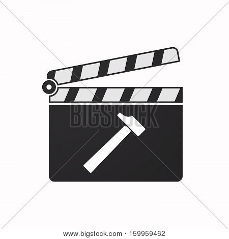 Isolated Clapper Board With A Hammer