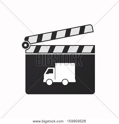 Isolated Clapper Board With A  Delivery Truck