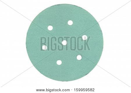 Velcro grinding sanding disc isolated on white.