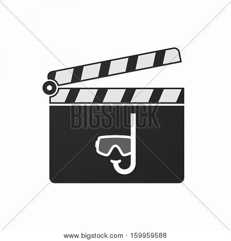 Isolated Clapper Board With A Diving Goggles