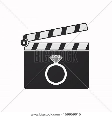 Isolated Clapper Board With An Engagement Ring