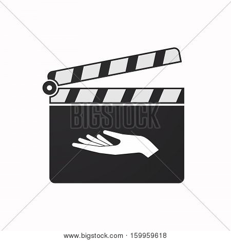 Isolated Clapper Board With A Hand Offering